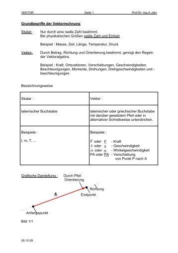 Grundbegriffe der Vektorrechnung Skalar: Nur ... - FB 4 Allgemein