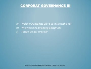 Corporat Governance III - FB 4 Allgemein