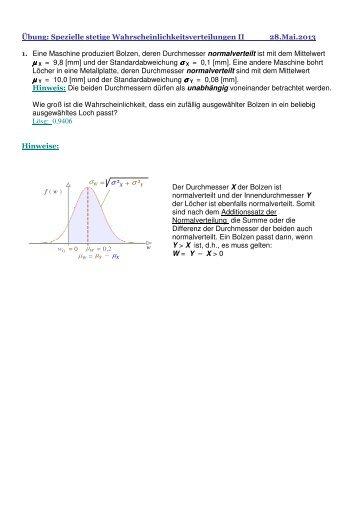 Übung 7-II - Spezielle Stetige Wahrscheinlichkeits-Verteilungen