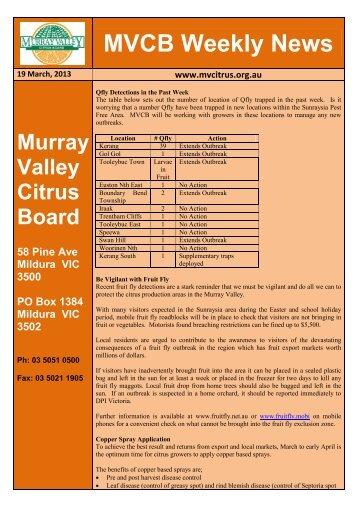 MVCB Weekly News - Murray Valley Citrus Board