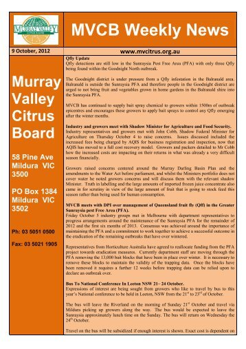 MVCB Weekly News - Murray Valley Citrus Board