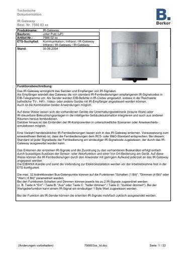 Technische Dokumentation IR Gateway Best. Nr. 7566 03 xx