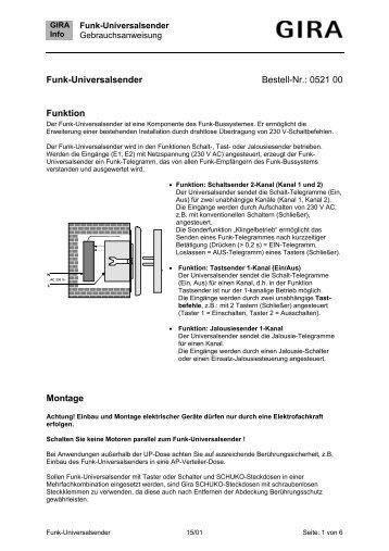 Funk-Universalsender Bestell-Nr.: 0521 00 Funktion Montage