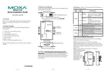 NPort 5110 Quick Installation Guide - Moxa