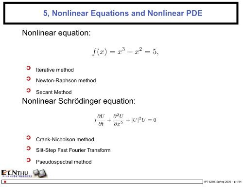 5, Nonlinear Equations and Nonlinear PDE Nonlinear equation