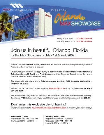 Join us in beautiful Orlando, Florida - Max International Virtual Office
