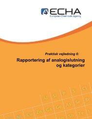 Rapportering af analogislutning og kategorier - ECHA - Europa