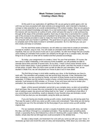 Week Thirteen Lesson One Creating a Basic Story - my CCSD