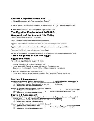 Ancient Kingdoms of the Nile The Egyptian Empire ... - my CCSD