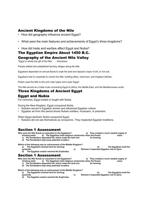 Ancient Kingdoms of the Nile The Egyptian Empire     - my CCSD
