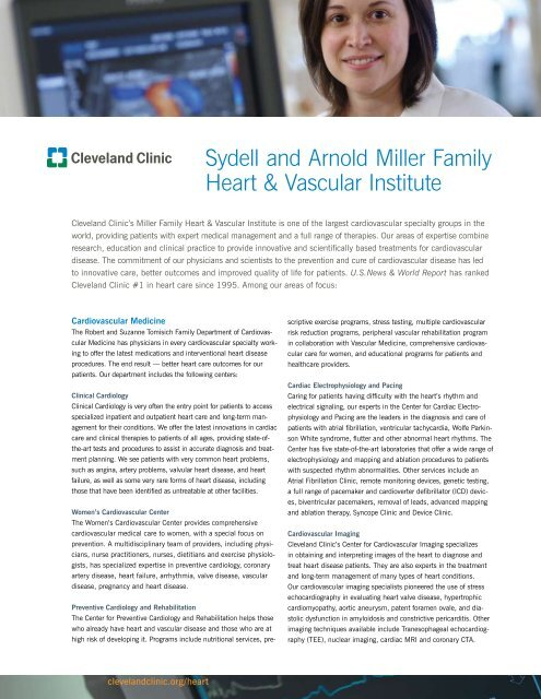 Sydell and Arnold Miller Family Heart & Vascular