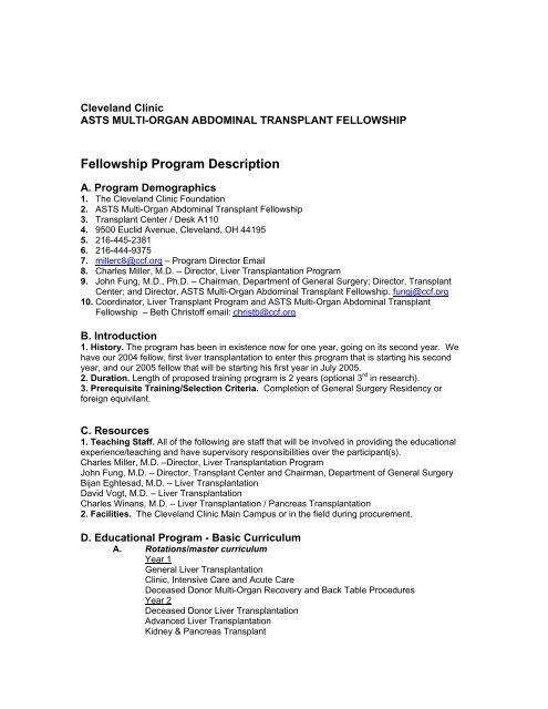 ASTS Multi-Organ Abdominal Transplant Fellowship - Cleveland