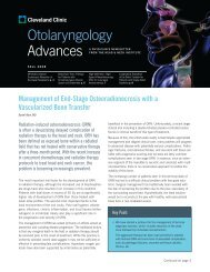 Otolaryngology Advances - Cleveland Clinic