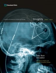 2009/2010 Psychiatry Insights - Cleveland Clinic