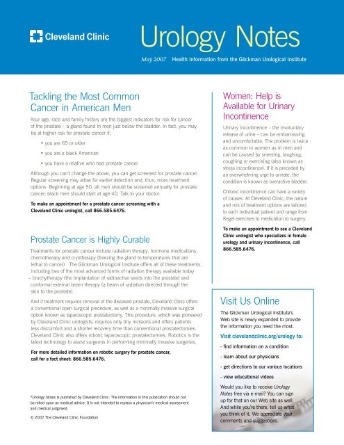 Urology Notes - Cleveland Clinic