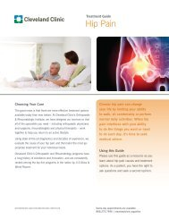 Treatment Guide Hip Pain - Cleveland Clinic