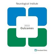 2010 Neurological Institute Outcomes - Cleveland Clinic