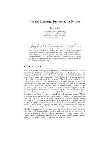 Natural Language Processing: A Report - My FIT (my.fit.edu ...