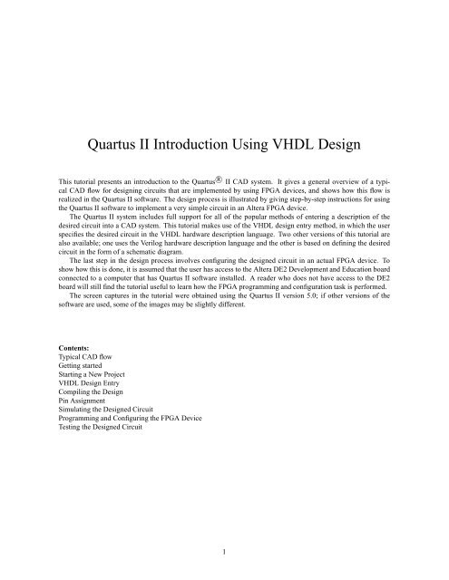 Quartus II Introduction Using VHDL Design - ECE Users Pages