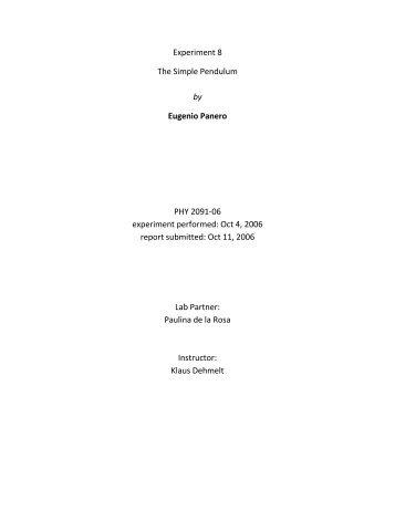 Lab Report #8 - The Simple Pendulum - My FIT (my.fit.edu)