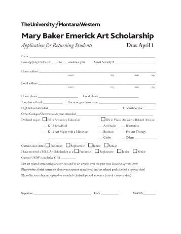 Mary Baker Emerick Art Scholarship