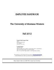 Employee Handbook - The University of Montana Western