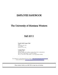 Employee Handbook - The University of Montana Western