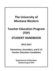 TEP Student Handbook - The University of Montana Western