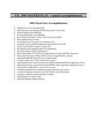 VII. 2003 MASTER PLAN – Annual Accomplishments