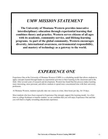 2008-2009 Catalog - The University of Montana Western