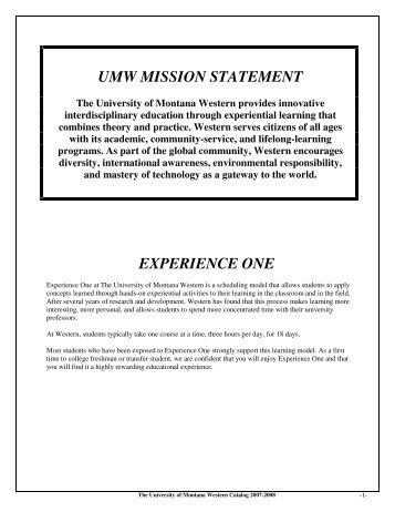 2007-2008 Catalog - The University of Montana Western