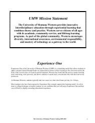 2009-2010 Catalog - The University of Montana Western