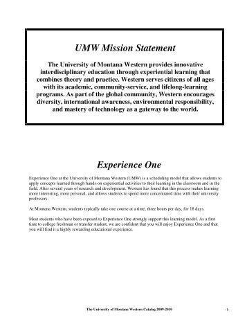 2009-2010 Catalog - The University of Montana Western