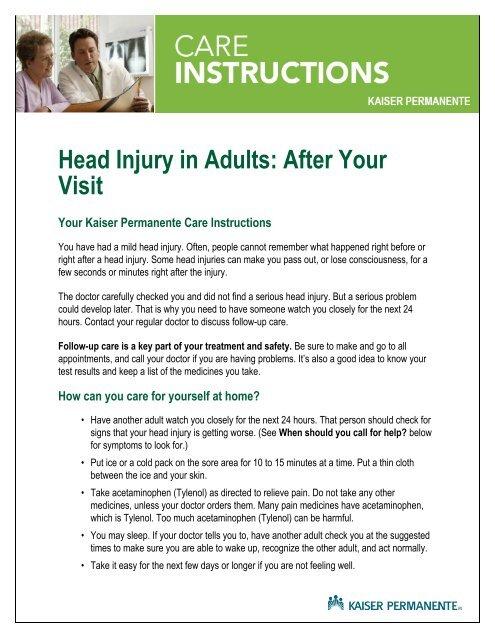 Head Injury Treatment At Home