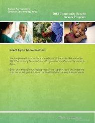 2013 Community Benefit Grants Program - My Doctor Online The ...