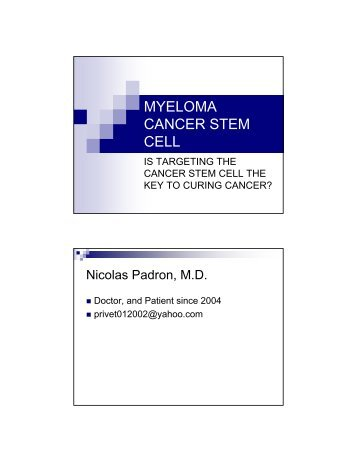 myeloma cancer stem cell - North Texas Myeloma Support Group