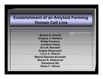 Establishment of an Amyloid Forming Human Cell Line