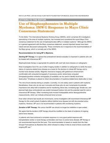 Use of Bisphosphonates in Multiple Myeloma - International ...