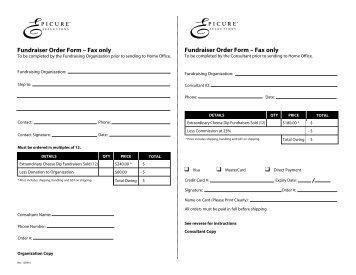 Fundraiser Order Form U2013 Fax Only Fundraiser Order ...   My Epicure