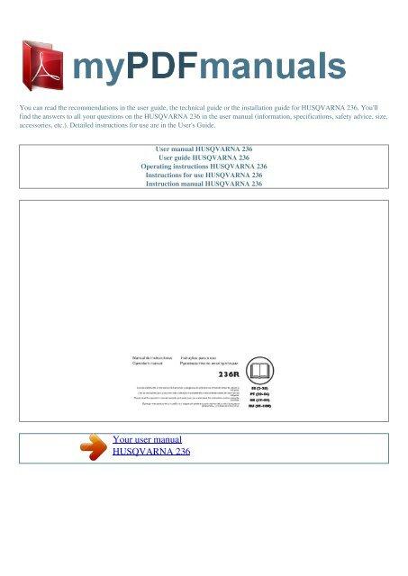 User manual HUSQVARNA 236 - MY PDF MANUALS