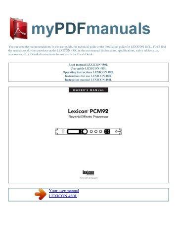 lexicon pcm96 peter boda rh yumpu com Wildgame Innovations Manuals Instruction Manual Book