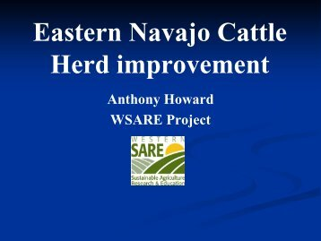 Herd improvement project - Sustainable Agriculture Research and ...
