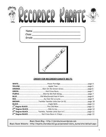 Recorder Karate Book - Cherokee County Schools