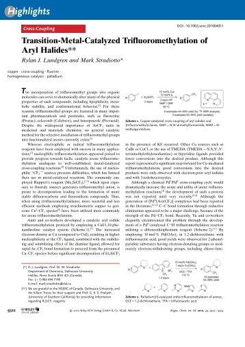 TransitionMetalCatalyzed Trifluoromethylation of Aryl Halides