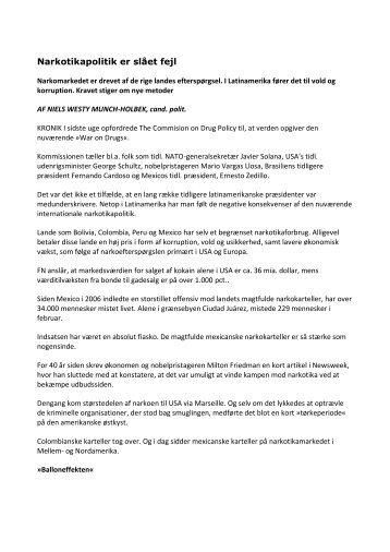 Narkotikapolitik er slået fejl - Niels Westy Munch-Holbek