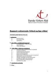 Rapport vedrørende 'frihed og lige vilkår' - Danske Kirkers Råd