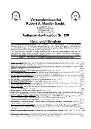 Antiquariats-Angebot Nr. 128 Harz und Bergbau - Antikbuch24