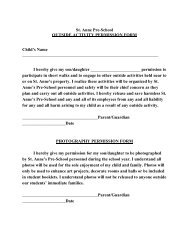 St. Anne Pre-School OUTSIDE ACTIVITY PERMISSION FORM ...