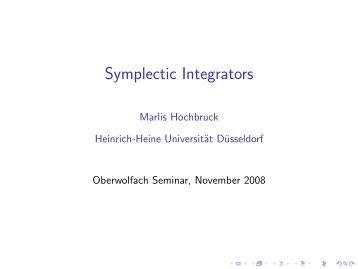 Symplectic Integrators