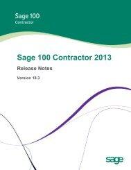 Sage Master Builder Version 18.1 Release Notes